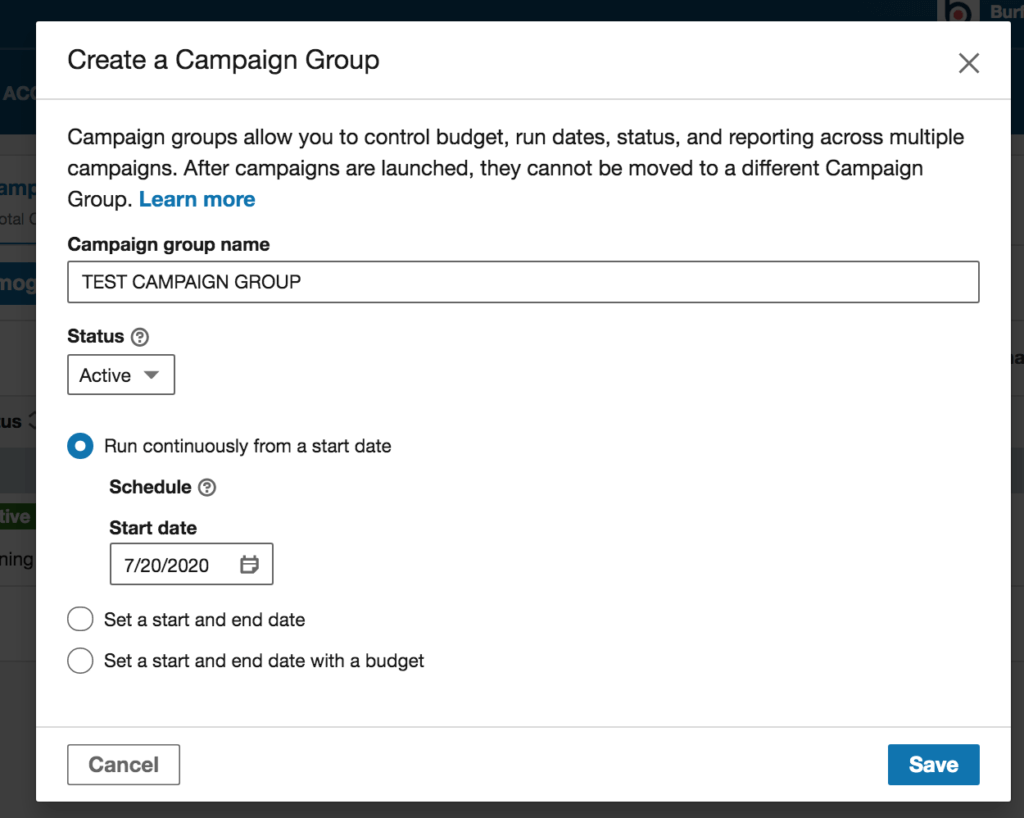Create a Campaign Group